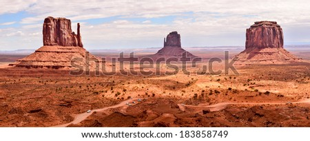 Panoramic view of Monument Valley Arizona Indian Reservation - stock photo
