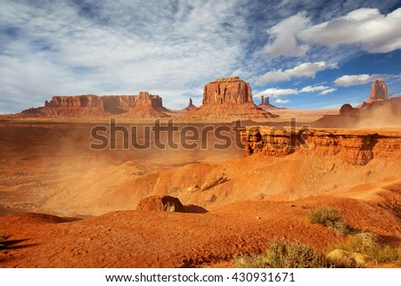 panoramic view of monument valley in a windy day