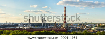 Panoramic view of Moscow Oil-processing factory  - stock photo