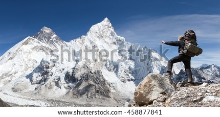Panoramic view of Mount Everest from Kala Patthar with tourist on the way to Everest base camp, Sagarmatha national park, Khumbu valley - Nepal