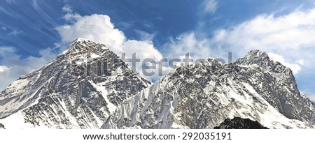 Panoramic view of Mount Everest (Sagarmatha), highest mountain in the world, Nepal.