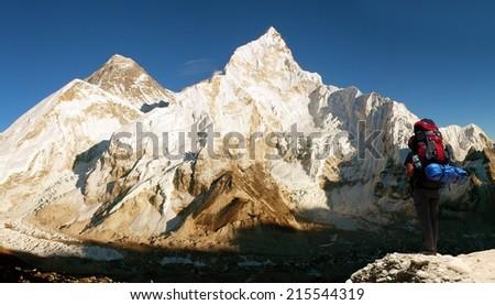 panoramic view of Mount Everest with beautiful sky, tourist and Khumbu Glacier from Kala Patthar - Khumbu valley - Nepal  - stock photo