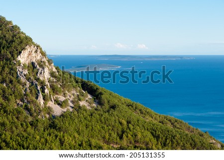Panoramic view of Mountains and sea from Lubenice in Cres - Croatia - stock photo