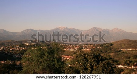 Panoramic view of mountains and suburbs in Diamond Bar, California - stock photo