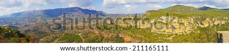Panoramic view of mountains at autumn (Spain) - stock photo