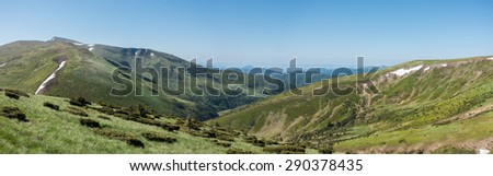 Panoramic view of mountains - Svydovets range, Carpathians, West Ukraine - stock photo