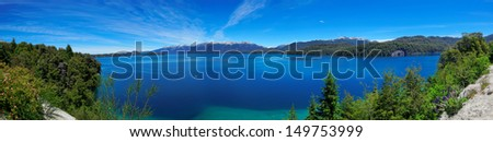 Panoramic view of Nahuel Huapi Lake, near Bariloche, Argentina, Patagonia, South America - stock photo