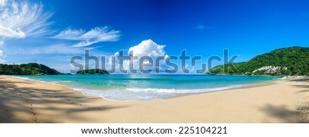 Panoramic view of Nai Harn Beach in Phuket, on a sunny day - stock photo