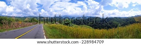 Panoramic view of natural landscape view of the mountain in Nan province, Thailand - stock photo