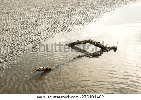 Panoramic view of natural sand pattern on  flat sandy beach during low tide. - stock photo