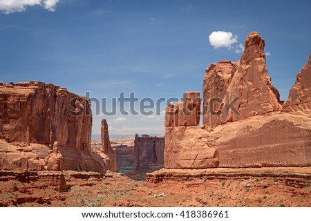 Panoramic view of nature's huge sandstone creations, Arches National Park, Utah  - stock photo
