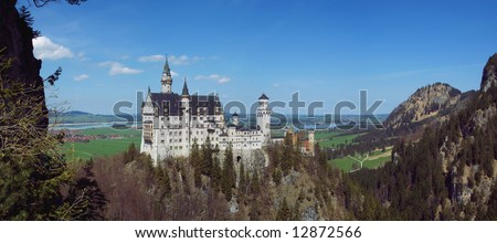 Panoramic View of Neuschwanstein Castle, Fussen, Germany - stock photo