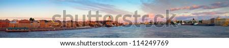 Panoramic view of Neva river in morning. Saint Petersburg, Russia - stock photo
