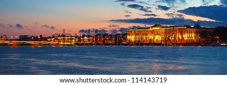 Panoramic view of Neva river in sunset. Saint Petersburg, Russia - stock photo