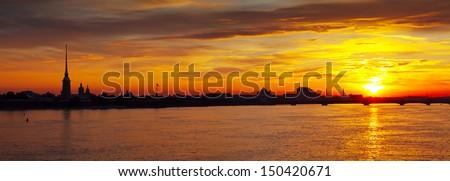 Panoramic view of Neva river summer dawn. St. Petersburg, Russia - stock photo