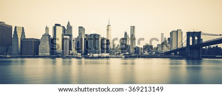 Panoramic view of New York City Manhattan midtown at dusk, special photographic processing