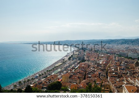 Panoramic view of Nice coastline and beach with blue sky, France - stock photo