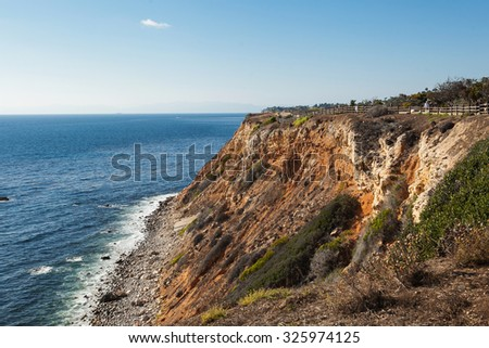 panoramic view of nice colorful huge cliff and ocean on the back
