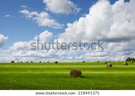 panoramic view of nice green valley on blue sky background - stock photo