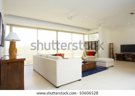 Panoramic view of nice light living room