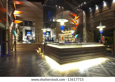 Panoramic view of nice stylish reception desk during nighttime - stock photo