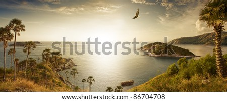 Panoramic view of nice tropic island  during sunset - stock photo