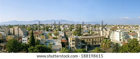 Panoramic view of Nicosia's old city towards north - stock photo