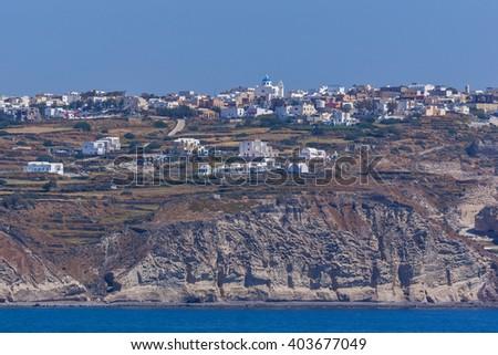 Panoramic view of Oia town, Santorini island, Cyclades, Greece - stock photo