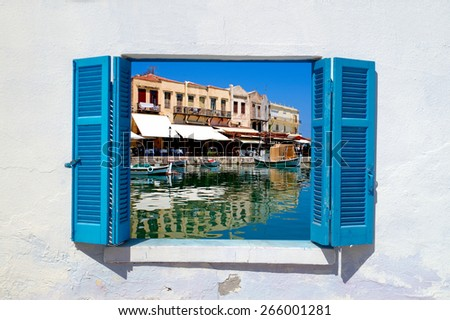 Panoramic view of old city in Rethymno at Crete, Greece - stock photo