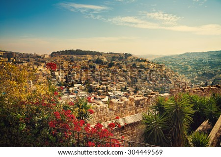 Panoramic view of old city Jerusalem, Israel - stock photo