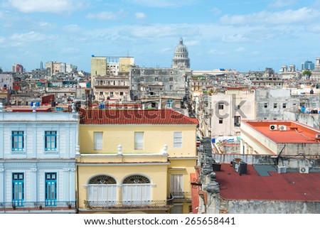 Panoramic view of Old Havana on a beautiful summer day with a clear blue sky - stock photo