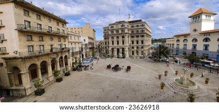 Panoramic view of Old Havana plaza and typical building - stock photo
