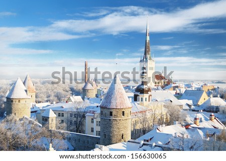 Panoramic view of old part of Tallin in winter - stock photo