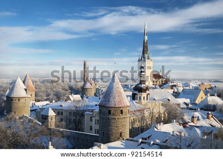 Panoramic view of old part of Tallinn in winter - stock photo