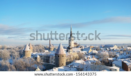 Panoramic view of old part of Tallinn Lower Town in winter