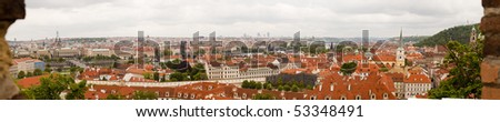 Panoramic view of old prague. High res 22200x4400 px