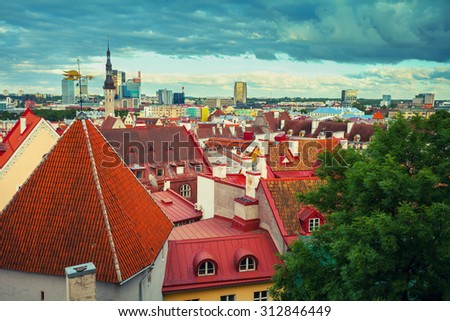 Panoramic view of Old Tallinn city, Estonia - stock photo