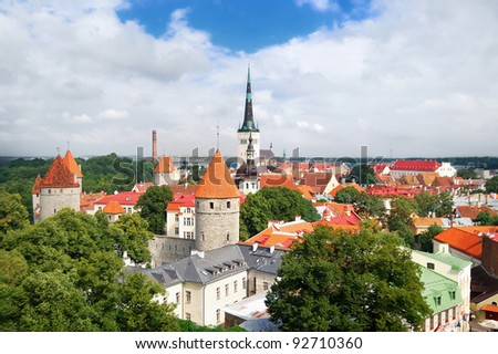 Panoramic view of Old Tallinn Lower town in summer. Estonia - stock photo