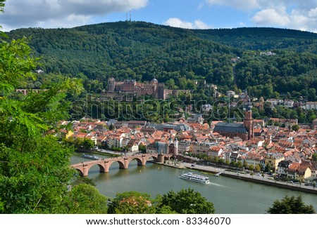 Panoramic view of old town heidelberg germany stock photo
