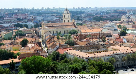 Panoramic view of old town of Vilnius, Lithuania