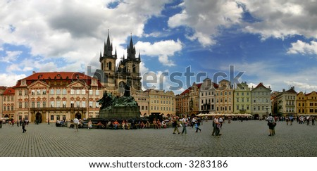 Panoramic view of Old Town Square (Stare Mesto or Staromestske namesti) in Prague, Czech Republic. - stock photo