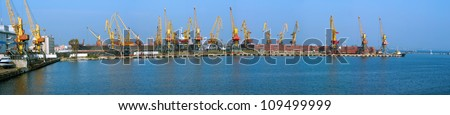 Panoramic view of one of the largest piers in the port of Odessa (all trade names and logos have been removed) - stock photo