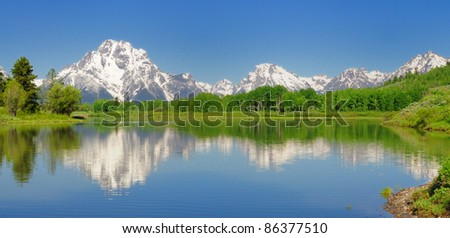 Panoramic view of Oxbow Bend - stock photo