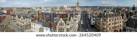 Panoramic view of Oxford, England, UK - stock photo