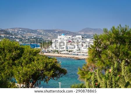 Panoramic view of Parikia, the white village in Paros island, Greece - stock photo