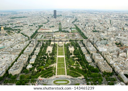 panoramic view of Paris city center of Eifel Tower in France - stock photo