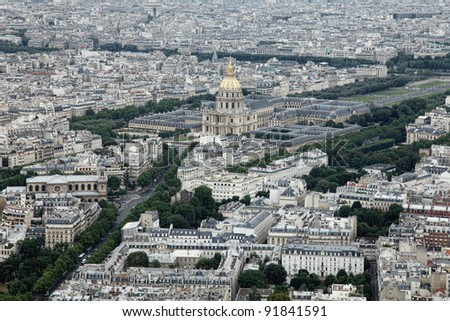 Panoramic View of Paris from Tour Montparnasse - stock photo