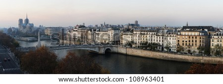 Panoramic view of Paris roofs - stock photo