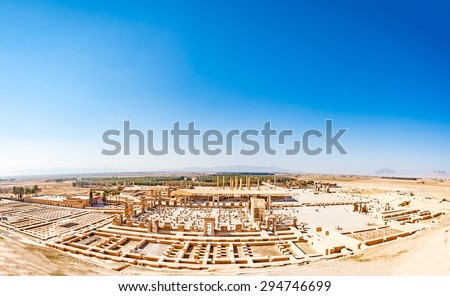 Panoramic view of Persepolis in northeastern Shiraz, Iran. Persepolis has led to its designation as a UNESCO World Heritage Site. - stock photo