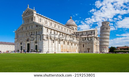 Panoramic view of Piazza dei Miracoli in Pisa, Italy. - stock photo